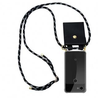 Cadorabo Handy Kette für Google Pixel 3a XL in SCHWARZ SILBER - Silikon Necklace Umhänge Hülle mit Gold Ringen, Kordel Band Schnur und abnehmbarem Etui ? Schutzhülle