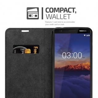Cadorabo Hülle für Nokia 3.1 2018 in NACHT SCHWARZ - Handyhülle mit Magnetverschluss, Standfunktion und Kartenfach - Case Cover Schutzhülle Etui Tasche Book Klapp Style - Vorschau 3