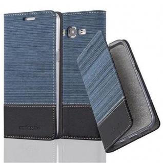 Cadorabo Hülle für Samsung Galaxy GRAND PRIME in DUNKEL BLAU SCHWARZ - Handyhülle mit Magnetverschluss, Standfunktion und Kartenfach - Case Cover Schutzhülle Etui Tasche Book Klapp Style