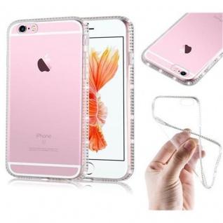 Cadorabo Hülle für Apple iPhone 6 / iPhone 6S - Hülle in TRANSPARENT WEIß ? Handyhülle aus TPU Silikon im Strass Design - Ultra Slim Soft Backcover Case Bumper