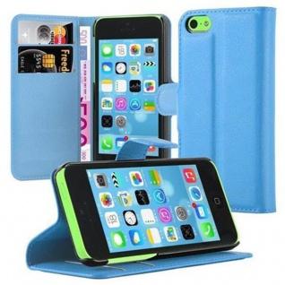 Cadorabo Hülle für Apple iPhone 5C in PASTEL BLAU - Handyhülle mit Magnetverschluss, Standfunktion und Kartenfach - Case Cover Schutzhülle Etui Tasche Book Klapp Style