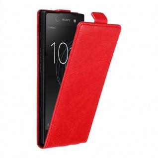 Cadorabo Hülle für Sony Xperia XA1 in APFEL ROT - Handyhülle im Flip Design mit unsichtbarem Magnetverschluss - Case Cover Schutzhülle Etui Tasche Book Klapp Style