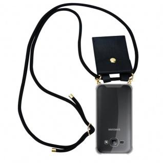 Cadorabo Handy Kette für Samsung Galaxy J1 2015 in SCHWARZ ? Silikon Necklace Umhänge Hülle mit Gold Ringen, Kordel Band Schnur und abnehmbarem Etui ? Schutzhülle - Vorschau 1