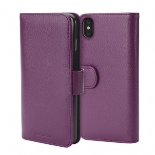 Cadorabo Hülle für Apple iPhone X / XS in BORDEAUX LILA ? Handyhülle mit Magnetverschluss und 3 Kartenfächern ? Case Cover Schutzhülle Etui Tasche Book Klapp Style