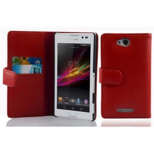 Cadorabo Hülle für Sony Xperia C in INFERNO ROT - Handyhülle aus strukturiertem Kunstleder mit Standfunktion und Kartenfach - Case Cover Schutzhülle Etui Tasche Book Klapp Style