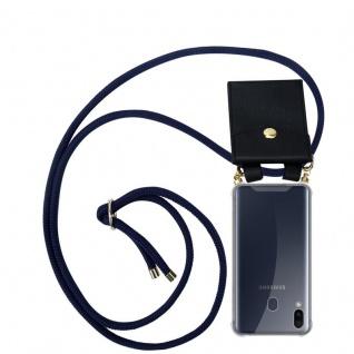 Cadorabo Handy Kette für Samsung Galaxy M20 in TIEF BLAU - Silikon Necklace Umhänge Hülle mit Gold Ringen, Kordel Band Schnur und abnehmbarem Etui ? Schutzhülle