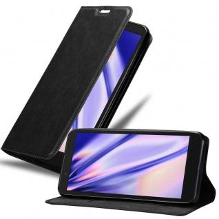 Cadorabo Hülle für Alcatel 1C 2019 in NACHT SCHWARZ - Handyhülle mit Magnetverschluss, Standfunktion und Kartenfach - Case Cover Schutzhülle Etui Tasche Book Klapp Style