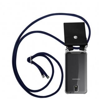 Cadorabo Handy Kette für Samsung Galaxy NOTE 3 in TIEF BLAU Silikon Necklace Umhänge Hülle mit Silber Ringen, Kordel Band Schnur und abnehmbarem Etui Schutzhülle