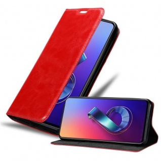 Cadorabo Hülle für Asus ZenFone 6 in APFEL ROT Handyhülle mit Magnetverschluss, Standfunktion und Kartenfach Case Cover Schutzhülle Etui Tasche Book Klapp Style