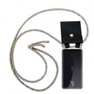Cadorabo Handy Kette für Nokia 3.1 2018 in RAINBOW Silikon Necklace Umhänge Hülle mit Gold Ringen, Kordel Band Schnur und abnehmbarem Etui Schutzhülle