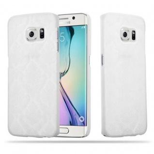 Samsung Galaxy S6 EDGE Hardcase Hülle in WEIß von Cadorabo - Blumen Paisley Henna Design Schutzhülle ? Handyhülle Bumper Back Case Cover