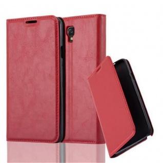 Cadorabo Hülle für Samsung Galaxy NOTE 3 NEO - Hülle in APFEL ROT ? Handyhülle mit Magnetverschluss, Standfunktion und Kartenfach - Case Cover Schutzhülle Etui Tasche Book Klapp Style