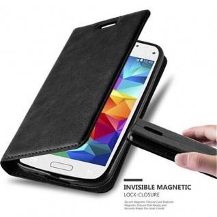 Cadorabo Hülle für Samsung Galaxy S5 MINI / S5 MINI DUOS in NACHT SCHWARZ Handyhülle mit Magnetverschluss, Standfunktion und Kartenfach Case Cover Schutzhülle Etui Tasche Book Klapp Style