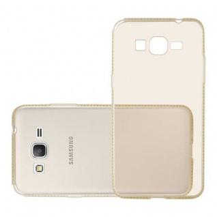 Cadorabo Hülle für Samsung Galaxy GRAND PRIME - Hülle in TRANSPARENT GOLD ? Handyhülle aus TPU Silikon im Strass Design - Silikonhülle Schutzhülle Ultra Slim Soft Back Cover Case Bumper - Vorschau 3