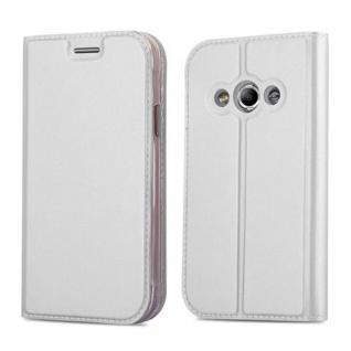 Cadorabo Hülle für Samsung Galaxy XCOVER 3 in CLASSY SILBER - Handyhülle mit Magnetverschluss, Standfunktion und Kartenfach - Case Cover Schutzhülle Etui Tasche Book Klapp Style