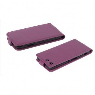 Cadorabo Hülle für Sony Xperia M5 in BORDEAUX LILA - Handyhülle im Flip Design aus strukturiertem Kunstleder - Case Cover Schutzhülle Etui Tasche Book Klapp Style - Vorschau 3