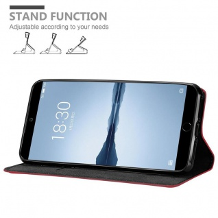 Cadorabo Hülle für MEIZU 15 in APFEL ROT - Handyhülle mit Magnetverschluss, Standfunktion und Kartenfach - Case Cover Schutzhülle Etui Tasche Book Klapp Style - Vorschau 4