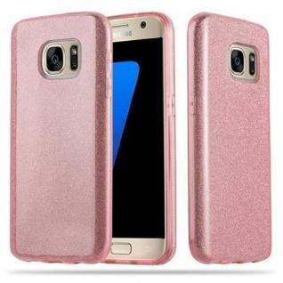 Cadorabo Hülle für Samsung Galaxy S7 - Hülle in STERNENSTAUB PINK ? TPU Silikon und Hardcase Handyhülle im Glitzer Design - Hard Case TPU Silikon Schutzhülle