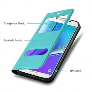 Cadorabo Hülle für Samsung Galaxy NOTE 5 in MINT TÜRKIS - Handyhülle mit Magnetverschluss, Standfunktion und 2 Sichtfenstern - Case Cover Schutzhülle Etui Tasche Book Klapp Style - Vorschau 3