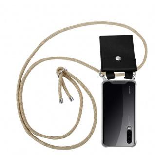 Cadorabo Handy Kette für Huawei P30 in GLÄNZEND BRAUN - Silikon Necklace Umhänge Hülle mit Silber Ringen, Kordel Band Schnur und abnehmbarem Etui - Schutzhülle
