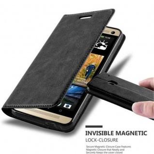 Cadorabo Hülle für HTC ONE M7 (1.Generation) in NACHT SCHWARZ - Handyhülle mit Magnetverschluss, Standfunktion und Kartenfach - Case Cover Schutzhülle Etui Tasche Book Klapp Style