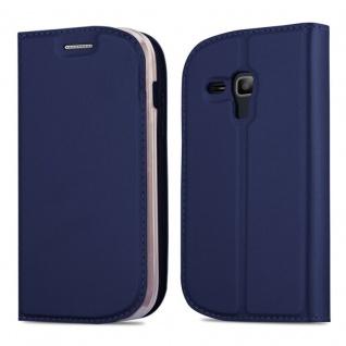 Cadorabo Hülle für Samsung Galaxy S3 MINI in CLASSY DUNKEL BLAU - Handyhülle mit Magnetverschluss, Standfunktion und Kartenfach - Case Cover Schutzhülle Etui Tasche Book Klapp Style