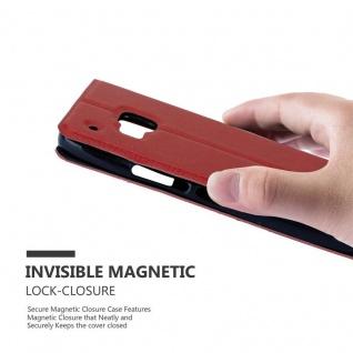 Cadorabo Hülle für HTC One M9 in SAFRAN ROT - Handyhülle mit Magnetverschluss, Standfunktion und 2 Sichtfenstern - Case Cover Schutzhülle Etui Tasche Book Klapp Style - Vorschau 5