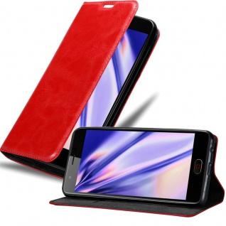 Cadorabo Hülle für ZTE Nubia M2 in APFEL ROT Handyhülle mit Magnetverschluss, Standfunktion und Kartenfach Case Cover Schutzhülle Etui Tasche Book Klapp Style