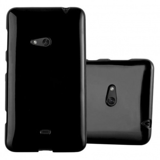 Cadorabo Hülle für Nokia Lumia 625 in JELLY SCHWARZ ? Handyhülle aus flexiblem TPU Silikon ? Silikonhülle Schutzhülle Ultra Slim Soft Back Cover Case Bumper