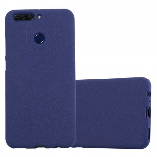 Cadorabo Hülle für Honor 8 in FROST DUNKEL BLAU Handyhülle aus flexiblem TPU Silikon Silikonhülle Schutzhülle Ultra Slim Soft Back Cover Case Bumper