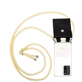 Cadorabo Handy Kette für Samsung Galaxy NOTE 20 PLUS in CREME BEIGE Silikon Necklace Umhänge Hülle mit Silber Ringen, Kordel Band Schnur und abnehmbarem Etui Schutzhülle