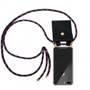 Cadorabo Handy Kette für Apple iPhone 8 PLUS / 7 PLUS / 7S PLUS in BLAU ROT WEISS GEPUNKTET Silikon Necklace Umhänge Hülle mit Gold Ringen, Kordel Band Schnur und abnehmbarem Etui Schutzhülle