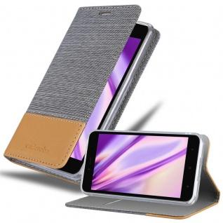 Cadorabo Hülle für Xiaomi RedMi NOTE 5A in HELL GRAU BRAUN - Handyhülle mit Magnetverschluss, Standfunktion und Kartenfach - Case Cover Schutzhülle Etui Tasche Book Klapp Style