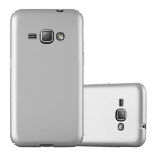 Cadorabo Hülle für Samsung Galaxy J1 2016 in METALL SILBER - Hardcase Handyhülle aus Plastik gegen Kratzer und Stöße - Schutzhülle Bumper Ultra Slim Back Case Hard Cover
