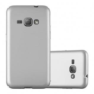 Cadorabo Hülle für Samsung Galaxy J1 2016 in METALL SILBER Hardcase Handyhülle aus Plastik gegen Kratzer und Stöße Schutzhülle Bumper Ultra Slim Back Case Hard Cover