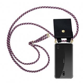 Cadorabo Handy Kette für Nokia 1 PLUS in ROT WEISS - Silikon Necklace Umhänge Hülle mit Gold Ringen, Kordel Band Schnur und abnehmbarem Etui ? Schutzhülle