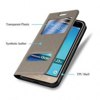 Cadorabo Hülle für Samsung Galaxy J3 / J3 DUOS 2016 in STEIN BRAUN - Handyhülle mit Magnetverschluss, Standfunktion und 2 Sichtfenstern - Case Cover Schutzhülle Etui Tasche Book Klapp Style - Vorschau 5