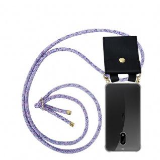 Cadorabo Handy Kette für Nokia 6 2017 in UNICORN - Silikon Necklace Umhänge Hülle mit Gold Ringen, Kordel Band Schnur und abnehmbarem Etui ? Schutzhülle