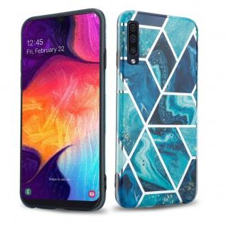 Cadorabo Hülle für Samsung Galaxy A50 / A30s Hülle in Blaue Welle Marmor No.13 Handyhülle aus TPU Silikon mit Muster Mosaik Silikonhülle Schutzhülle Ultra Slim Back Cover Case Bumper