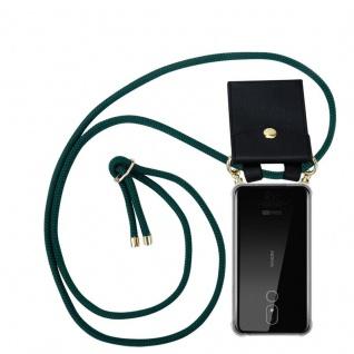 Cadorabo Handy Kette für Nokia 3.2 in ARMEE GRÜN Silikon Necklace Umhänge Hülle mit Gold Ringen, Kordel Band Schnur und abnehmbarem Etui Schutzhülle