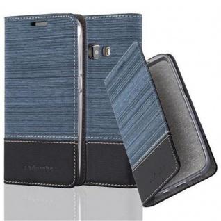 Cadorabo Hülle für Samsung Galaxy J1 2016 in DUNKEL BLAU SCHWARZ - Handyhülle mit Magnetverschluss, Standfunktion und Kartenfach - Case Cover Schutzhülle Etui Tasche Book Klapp Style