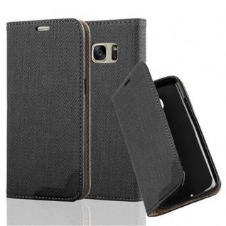 Cadorabo Hülle für Samsung Galaxy S7 - Hülle in EBENHOLZ SCHWARZ ? Handyhülle in Bast-Optik mit Kartenfach und Standfunktion - Case Cover Schutzhülle Etui Tasche Book Klapp Style