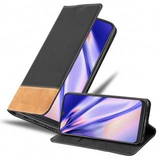 Cadorabo Hülle für Samsung Galaxy A50 in SCHWARZ BRAUN Handyhülle mit Magnetverschluss, Standfunktion und Kartenfach Case Cover Schutzhülle Etui Tasche Book Klapp Style