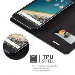 Cadorabo Hülle für LG NEXUS 5X in NACHT SCHWARZ - Handyhülle mit Magnetverschluss, Standfunktion und Kartenfach - Case Cover Schutzhülle Etui Tasche Book Klapp Style - Vorschau 4