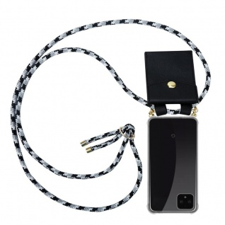 Cadorabo Handy Kette für Google Pixel 4 XL in SCHWARZ CAMOUFLAGE Silikon Necklace Umhänge Hülle mit Gold Ringen, Kordel Band Schnur und abnehmbarem Etui Schutzhülle
