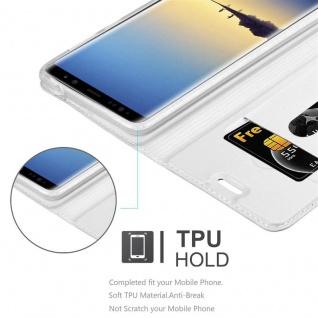 Cadorabo Hülle für Samsung Galaxy NOTE 8 in CLASSY SILBER - Handyhülle mit Magnetverschluss, Standfunktion und Kartenfach - Case Cover Schutzhülle Etui Tasche Book Klapp Style - Vorschau 2