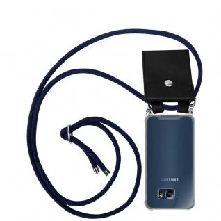Cadorabo Handy Kette für Samsung Galaxy S6 EDGE in TIEF BLAU - Silikon Necklace Umhänge Hülle mit Silber Ringen, Kordel Band Schnur und abnehmbarem Etui - Schutzhülle