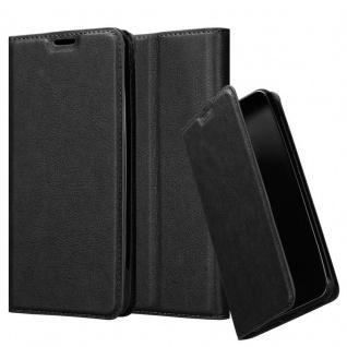 Cadorabo Hülle für Samsung Galaxy A10 in NACHT SCHWARZ Handyhülle mit Magnetverschluss, Standfunktion und Kartenfach Case Cover Schutzhülle Etui Tasche Book Klapp Style