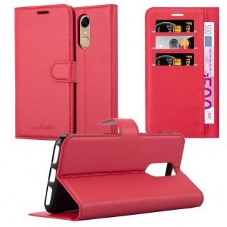 Cadorabo Hülle für Cubot NOTE PLUS in KARMIN ROT - Handyhülle mit Magnetverschluss, Standfunktion und Kartenfach - Case Cover Schutzhülle Etui Tasche Book Klapp Style