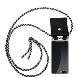 Cadorabo Handy Kette für OnePlus 5 in DUNKELBLAU GELB Silikon Necklace Umhänge Hülle mit Silber Ringen, Kordel Band Schnur und abnehmbarem Etui Schutzhülle